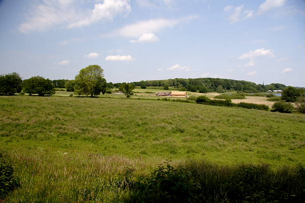 A wide view over the Hedeby area today, South towards North