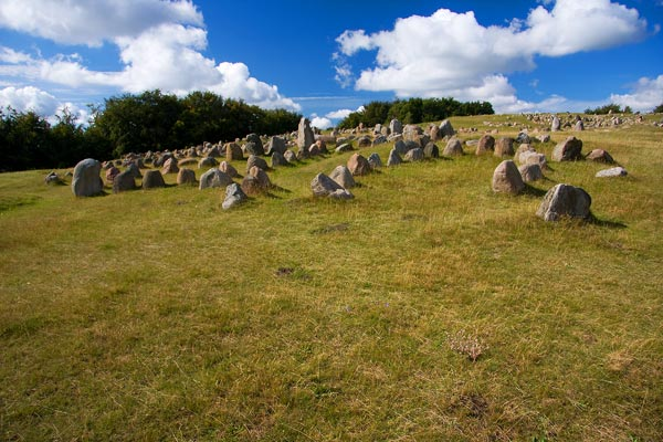 Some of the viking age graves in Lindholm Hoeje in N�rresundby
