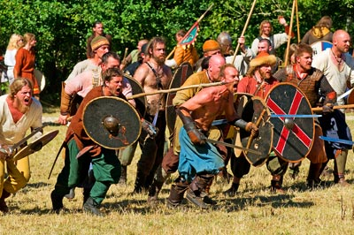 A viking attack with warriors storming the enemy