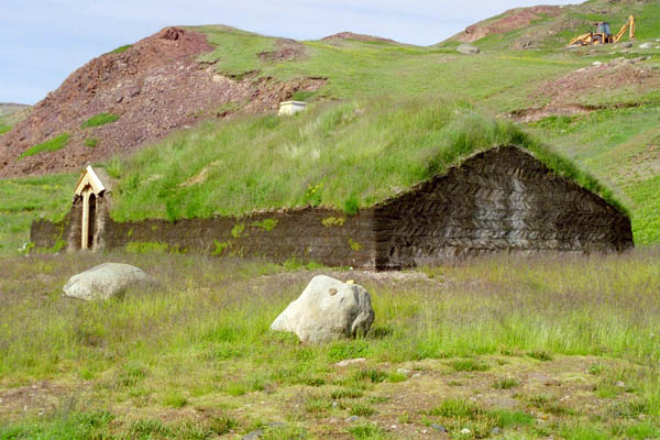 The house reconstruction at Brattahlid in Narsarsuaq in Greenland where Leif The Happy lived