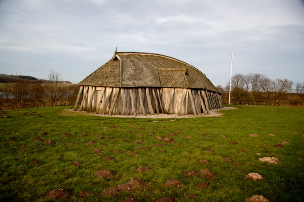 The viking house reconstruction at Fyrkat Viking Fortress in Hobro, Denmark