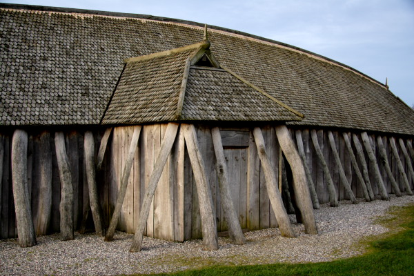 Closeup of the side of the viking house at Fyrkat Viking Fortress
