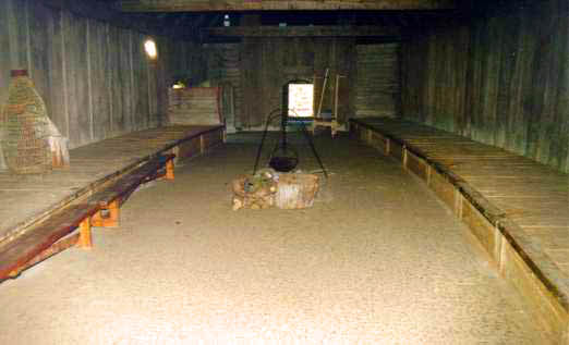An inside view of the viking house reconstruction at Trelleborg Viking Fortress