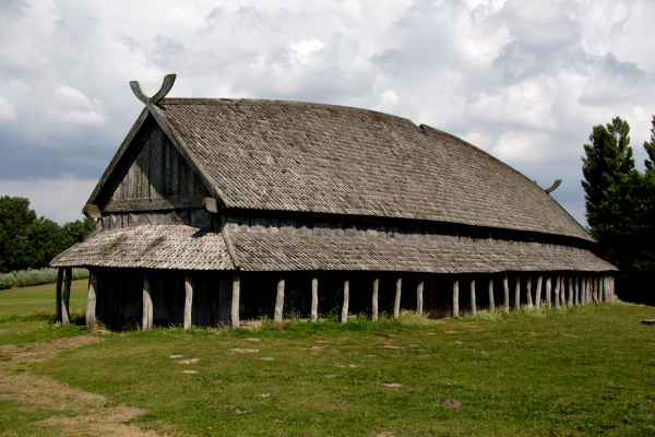 The reconstructed viking house at Trelleborg Viking Fortress